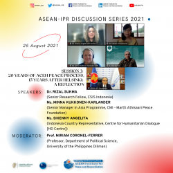 ASEAN-IPR DISCUSSION SERIES 2021 SESSION 3: 20 YEARS OF ACEH PEACE PROCESS, 15 YEARS AFTER HELSINKI: A REFLECTION